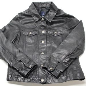 GAP ICON Black Leather Jean Style Jacket (Unisex)